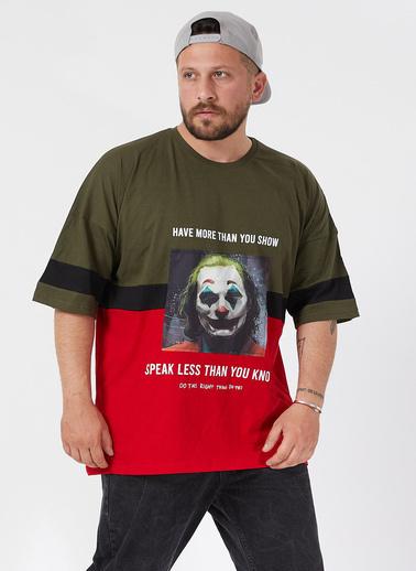 XHAN Haki Baskılı Bloklu Oversie T-Shirt 1Kxe1-44593-09 Haki